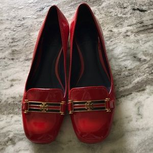 Tory Burch red patent leather loafer